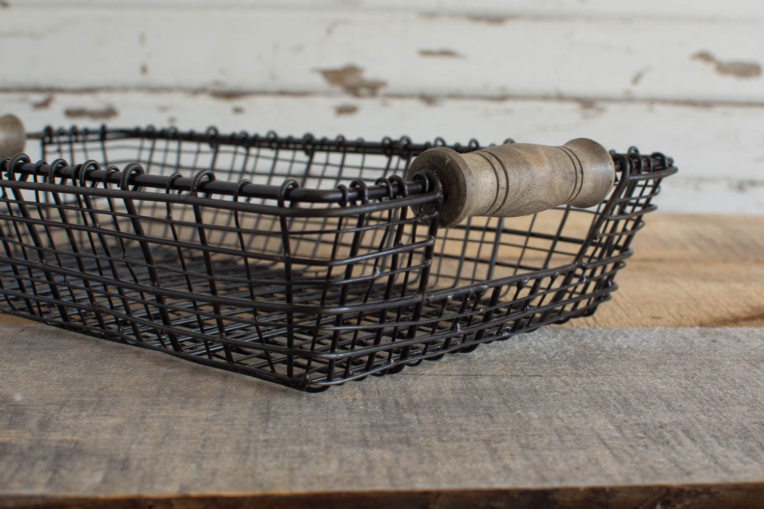 Iron Wire Basket with Wood Handles - Rectangle - Medium   Home ...