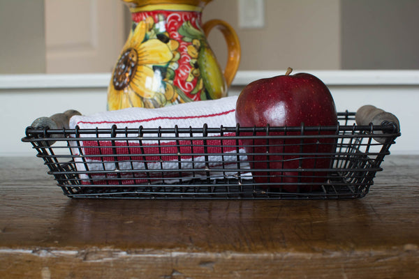 Iron Wire Basket with Wood Handles - Rectangle - Small - HOME DECORATIVE ACCENTS - 3