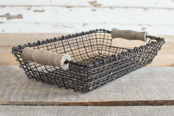 Iron Wire Basket with Wood Handles - Rectangle - Small - HOME DECORATIVE ACCENTS - 2