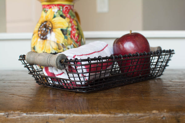 Iron Wire Basket with Wood Handles - Rectangle - Small - HOME DECORATIVE ACCENTS - 1