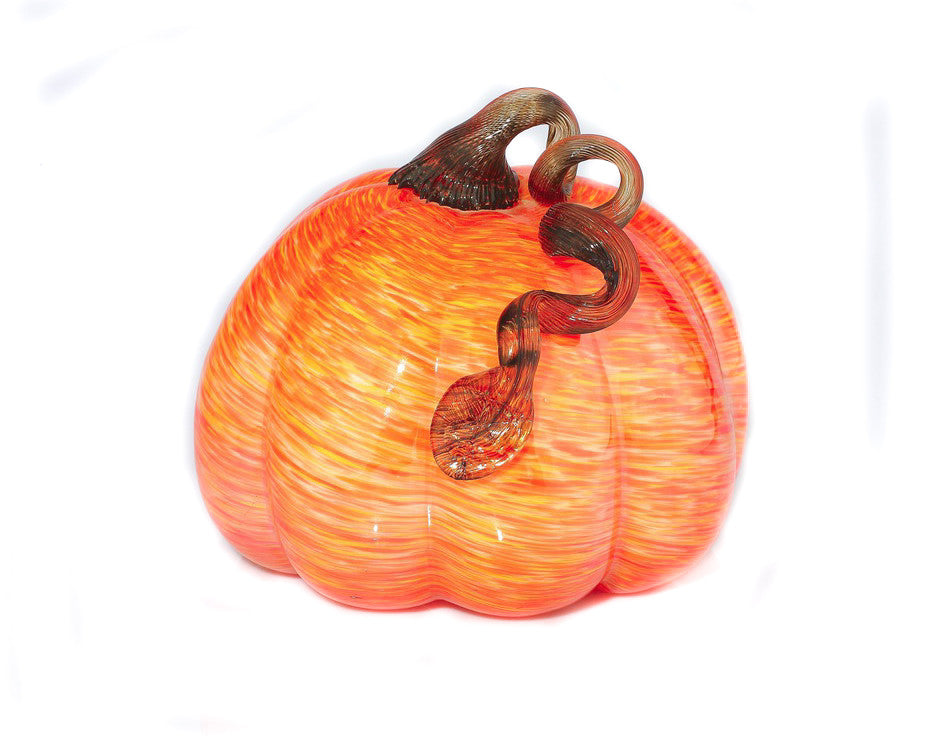 "Orange/Yellow Glass Pumpkin - Large - 7.5"" x 7.5"" - HOME DECORATIVE ACCENTS - 1"