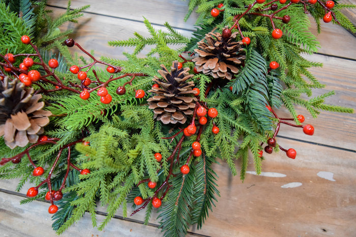 Princess Pine & Berry Wreath - 24""