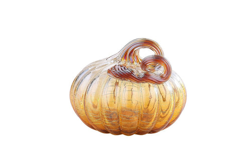"Clear Amber Glass Pumpkin - Small - 4.5"" x 5"" - HOME DECORATIVE ACCENTS - 1"
