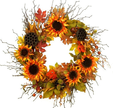 "Sunflower Bounty Wreath - 22"" - HOME DECORATIVE ACCENTS"