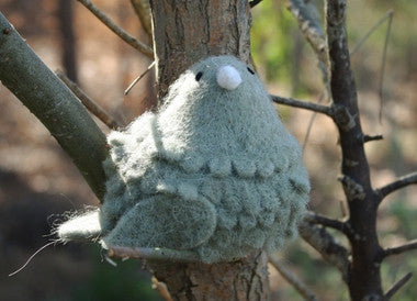 Wooly Sitting Bird - Grey - Set of 2