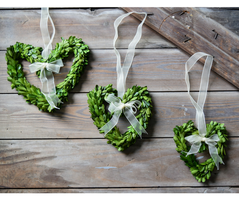 Preserved Boxwood Heart Wreaths - Set of 3