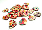 20 Painted Wood Buttons Heart Shape Buttons 22mm Craft Projects Sewing Buttons
