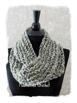 NEW Crochet Infinity Scarf Cowl Neckwarmer Accessory Light Gray Grey Handmade