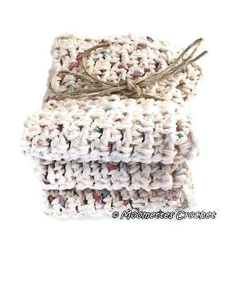 NEW Crochet Dishcloths Eco Friendly Cotton Wash Towels Beige Set of 3 Handmade