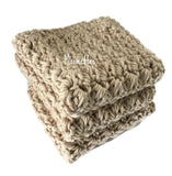 Handmade Kitchen Dish Cloths Antique Cream Beige Wash Cloths Cotton Dishcloths Set of 3
