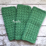 Handmade Kitchen Dish Cloths Apple Green Wash Cloth Cotton Shabby Crochet Set of 3