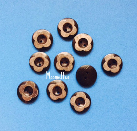 Black Round Wood 20mm Sewing Buttons Crafts Floral 2 Hole Button