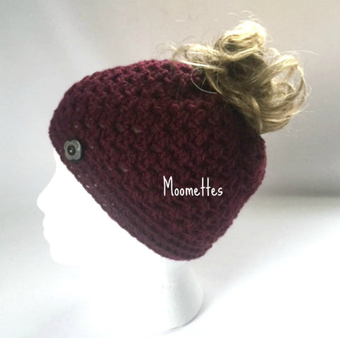 Handmade Messy Bun Hat Burgundy Beanie Dark Red Wood Button Ponytail Runner Teens Women
