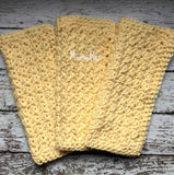 Handmade Kitchen Dish Cloths Set of 3 Yellow Buttercup Wash Cloth Crochet Cotton