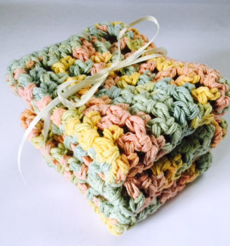 Handmade Crochet Kitchen Dish Cloths Pink Green Yellow Cotton Set of 3