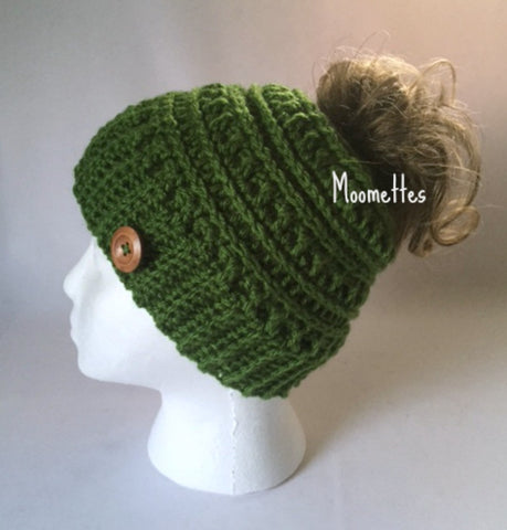 Handmade Messy Bun Hat Ribbed Green Beanie Wood Button Runner Ponytail Holder