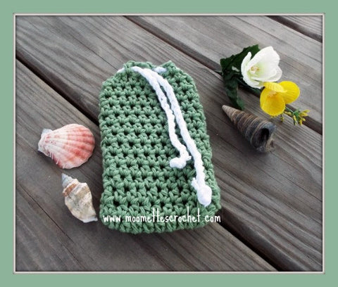 Soapsaver Bag Shower Drawstring Pouch Mint Green Handmade