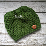 Handmade Messy Bun Hat Green Beanie Wood Button Runner Pony Tail Teens Women