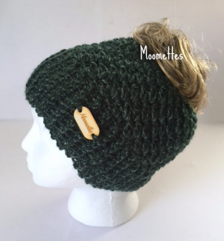 Handmade Messy Bun Hat Crochet Emerald Forest Green Beanie Wood Button Runner Ponytail Holder