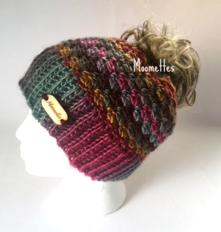 Handmade Messy Bun Hat Colorful Beanie Wood Button Teens Women Runner Ponytail Holder