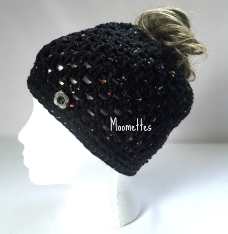 Handmade Messy Bun Hat Black Beanie Aran Fleck Red Blue Yellow Wood Button Running Pony Tail Teens Women