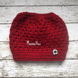 Handmade Messy Bun Hat Red Beanie Wood Button Ponytail Holder Crochet Womens Cloche