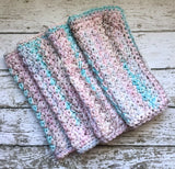 Handmade Kitchen Dish Cloths Set of 4 Pink Blue Shabby Wash Cloth Crochet Cotton
