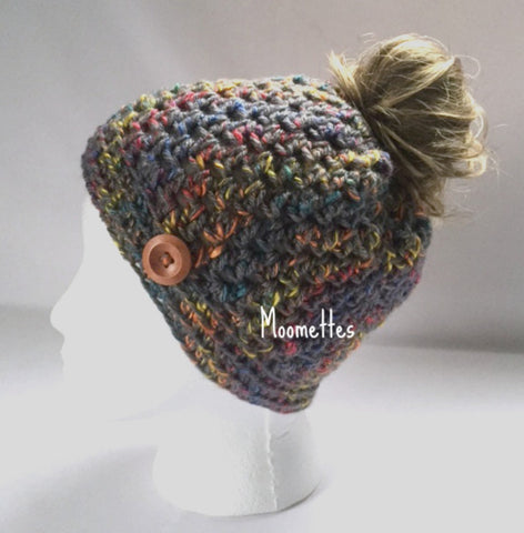 Handmade Messy Bun Hat Tweed Gray Beanie Aran Orange Yellow Twirl Wood Button Running Pony Tail Cloche Teens Women