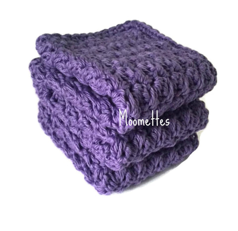 Handmade Kitchen Dish Cloths Purple Crochet Wash Cloth Cotton Shabby Set of 3