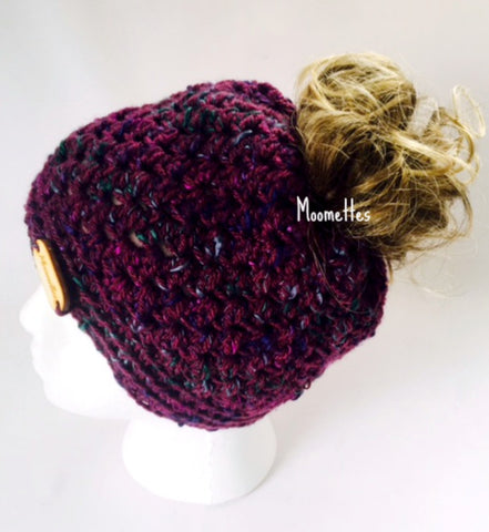 Handmade Messy Bun Hat Tweed Purple Teal Oval Wood Button Womens Crochet Ponytail Headband