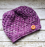 Handmade Messy Bun Hat Purple Beanie Multicolor Wood Button Ponytail Runner Teens Women