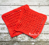 Crochet Wash Cloths Rustic Country Red Kitchen Dish Cloths Cotton Handmade Set of 2
