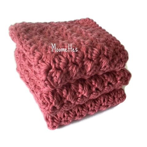 Handmade Kitchen Dish Cloths Set of 3 Dark Rose Pink Shabby Wash Cloth Crochet Cotton