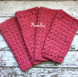 Handmade Kitchen Dish Cloths Set of 4 Deep Rose Pink Shabby Wash Cloth Crochet Cotton