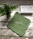 Handmade Cotton Dish Cloth Sage Green Dishcloth Scrubber 4 Piece Set