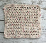 Kitchen Dish Cloth Crochet Cotton Dishcloths Beige Cottage Shabby Chic Handmade