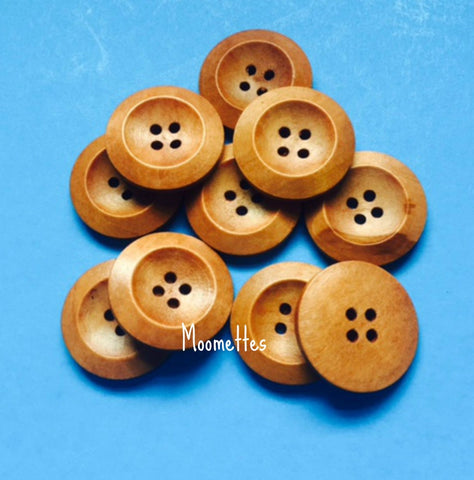 10 Wooden 4 Hole Round Wood 25mm Buttons Brown Button Sewing Crafts