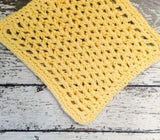 Handmade Dish Cloths Kitchen Dishcloths Yellow Eco Friendly Cotton Crochet Set of 3