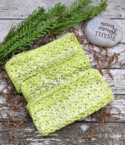 Handmade Cotton Dish Cloths Key Lime Green
