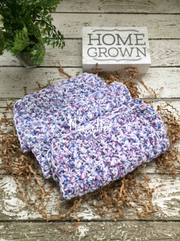Handmade Cotton Dish Cloths Blue Purple