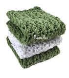 Handmade Cotton Kitchen Dish Cloths Green White