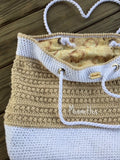 Handmade Tote Bag Beige Purse Wine Label Lining Cotton Carryall