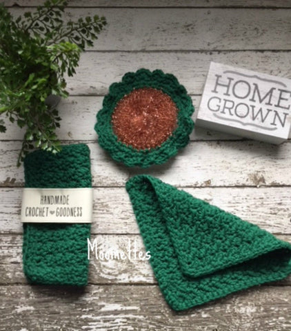 Handmade Cotton Dish Cloth Dark Green Scrubbie