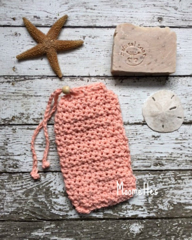 Handmade Soap Bag Peach Coral Cotton Soapsaver Cozy