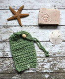Handmade Soap Bag Sage Green Cotton Soapsaver Cozy
