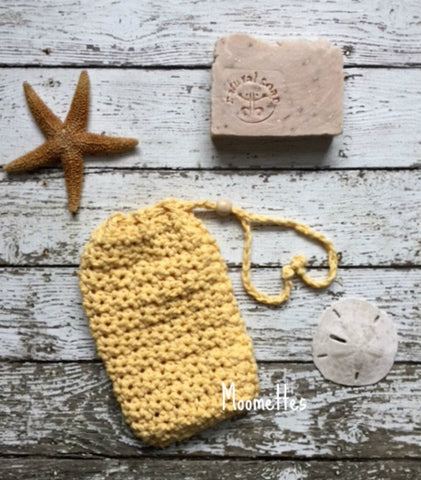 Handmade Soap Saver Bag Yellow Cotton Drawstring Bead Soapsaver Cozy