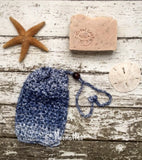 Handmade Soap Saver Bag Large Denim Blue Cotton Bead Hanging Drawstring Soapsaver Cozy