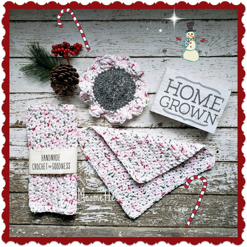 Handmade Christmas Dish Cloths Scrubbie Peppermint