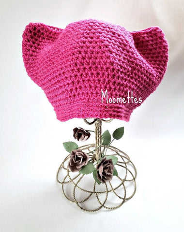 Handmade Pussycat Hat Hot Pink Cat Ears Beanie