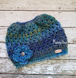 Handmade Messy Bun Hat Ponytail Beanie Teal Green Blue Fair Isle